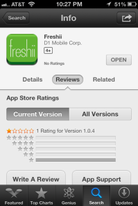 Freshii App Ratings