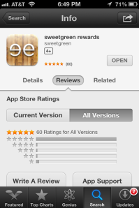 sweetgreen app store review